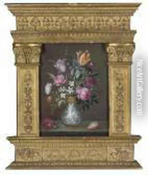 Roses, Carnations And Other Flowers Oil Painting - Balthasar Van Der Ast