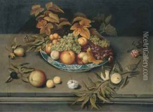 Grapes, Peaches, Apples And  Apricots In A Porcelain Bowl On A Ledgewith Carnations, A Blue Tit And A  Red Admiral Butterfly Oil Painting - Balthasar Van Der Ast