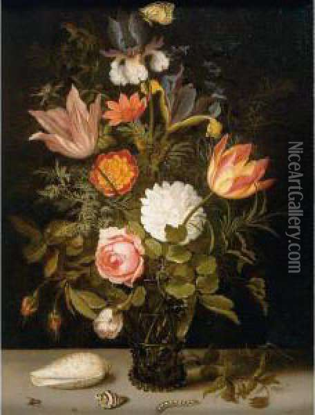 Still Life Of Roses, Tulips,  Irises, An African Marigold And Other Flowers In A Roemer Resting On A  Ledge, With Two Shells, A Butterfly And Other Insects Oil Painting - Balthasar Van Der Ast