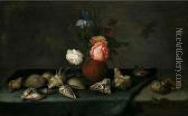 Still Life Of Roses, An Iris And  Fritillaries In An Earthenware Vase, With Assorted Shells, A Dragonfly  And A Lizard Upon A Table Partly Draped With A Green Cloth Oil Painting - Balthasar Van Der Ast