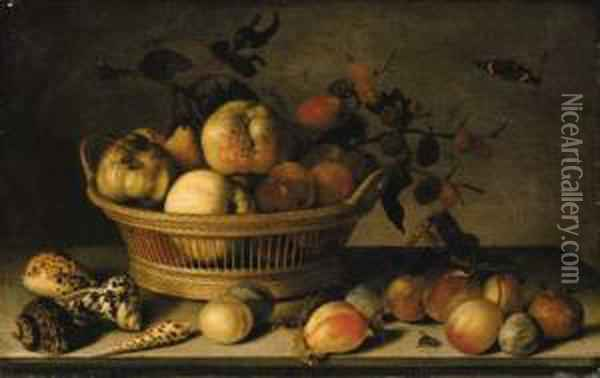 Apples, Pears And A Branch Of Mulberries In A Basket Oil Painting - Balthasar Van Der Ast