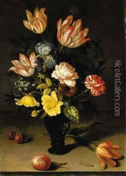 Tulips, Irises, Roses,  Forget-me-nots, Chrysanthemums And Hypericum In A Roemer, With Cherries,  A Plum, A Tulip And A Caterpiller On A Stone Ledge Oil Painting - Balthasar Van Der Ast