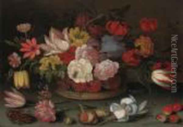 Roses, Fritillaries, And Lilies  In A Basket With Cherries, Shells,and An Insect On A Table Oil Painting - Balthasar Van Der Ast