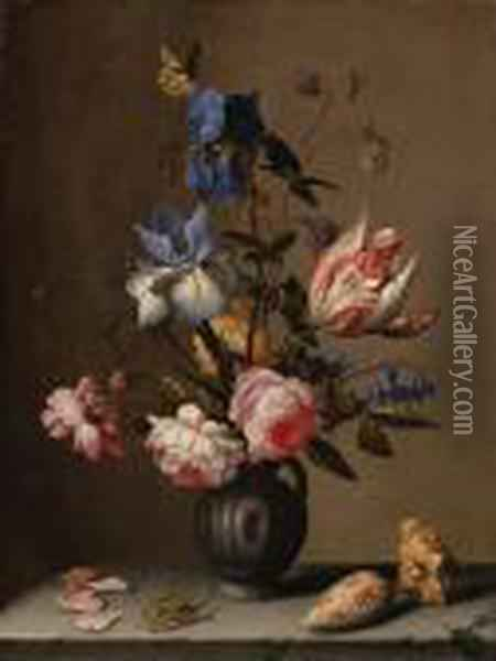 Irises, Roses, Columbine,  Hyacinth And A Tulip In A Black Potterypitcher, With Seashells And A  Grasshopper On A Stone Ledge Oil Painting - Balthasar Van Der Ast