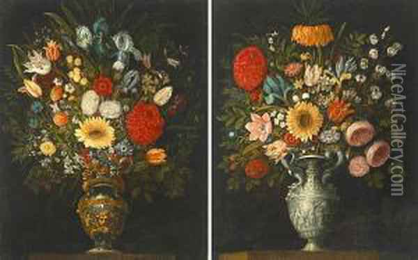 A Still Life Of Roses, Tulips,  Lilies, Irises And Other Flowers In A Silver Urn; A Still Life Of Roses,  Irises, Tulips And Other Flowers In A Bronze And Gilt Urn (a Pair) Oil Painting - Juan Van Der Hamen Y Leon