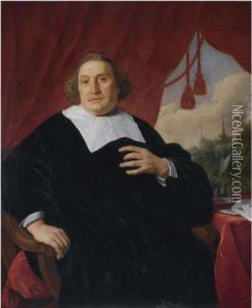 Portrait Of A Gentleman In Black  Robe, Three-quarter Length, Seatedat A Table, A Wooded Landscape With  Two Church Spires In Thebackground Oil Painting - Bartholomeus Van Der Helst