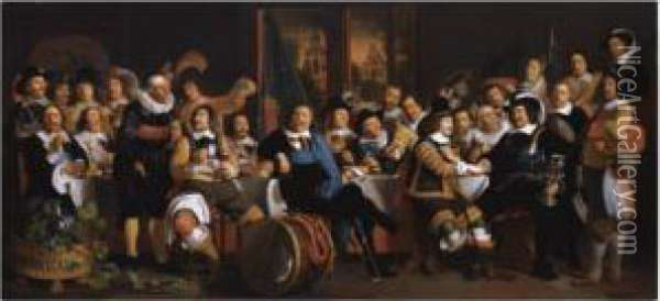 The Celebration Of The Peace Of  Munster, 18 June 1648, In The Headquarters Of The Crossbowmen's Civic  Guard (st. George Guard), Amsterdam Oil Painting - Bartholomeus Van Der Helst