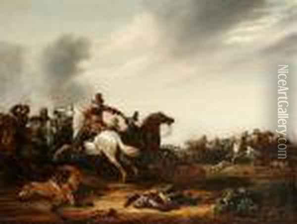 A Cavalry Skirmish On A Plain Oil Painting - Abraham van der Hoef