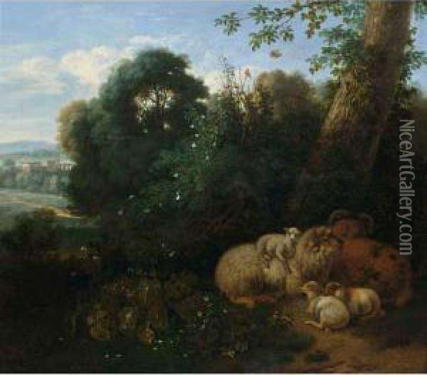 A Flock Of Sheep Under A Tree With A Classical Landscape Beyond Oil Painting - Jan Vermeer Van Delft