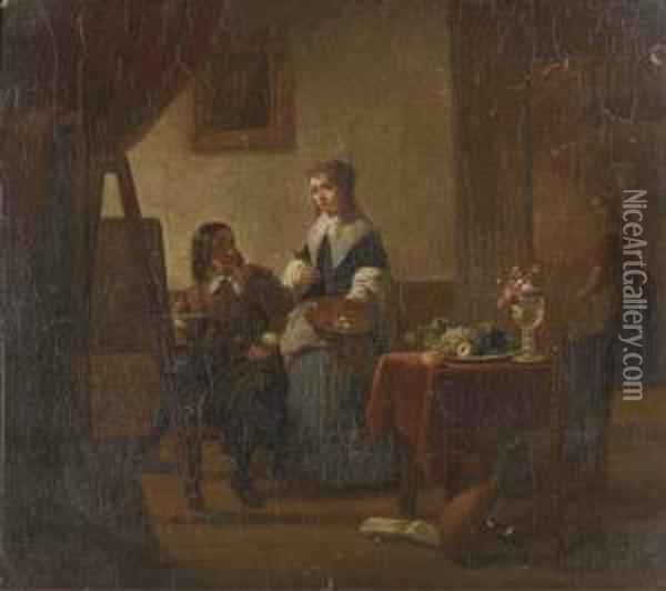 In The Artist's Studio Oil Painting - Jan Vermeer Van Delft