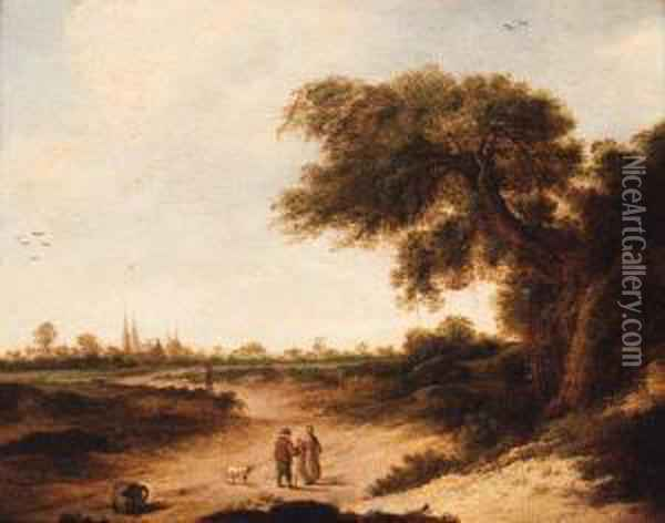 A Landscape With A Couple On A Sandy Track, A Church Beyond Oil Painting - Jan Vermeer Van Delft