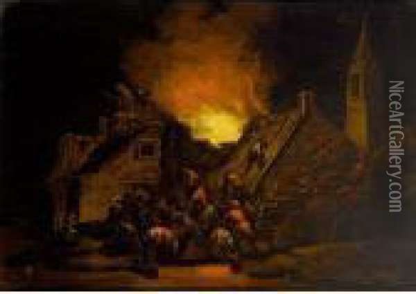 A Town House On Fire With Villagers Trying To Rescue Oil Painting - Adriaen Lievensz van der Poel