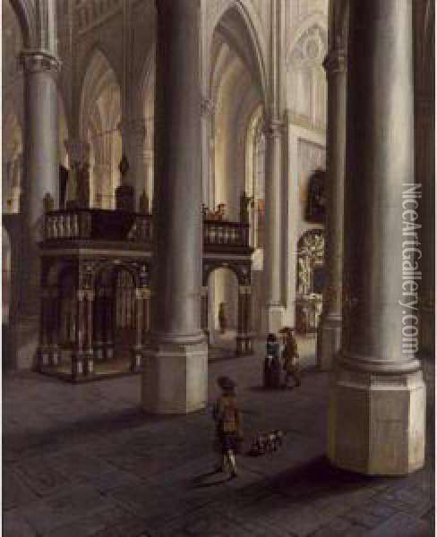 A Church Interior With Elegant Figures Together With A Dog, And Figures Playing Music Oil Painting - Hendrick Van Vliet