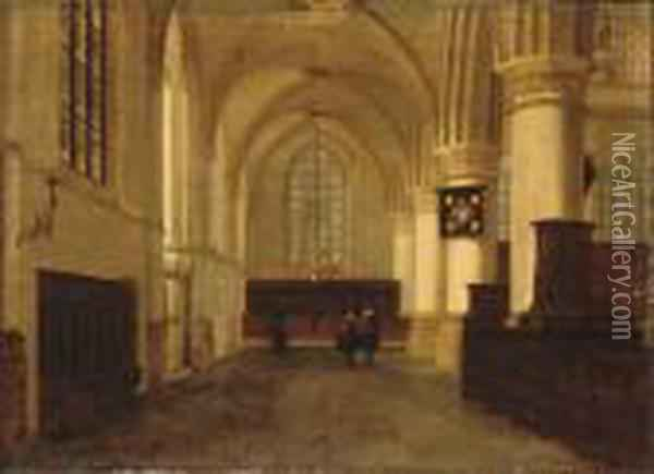 Figures In A Church Interior Oil Painting - Hendrick Van Vliet