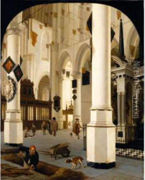 The Interior Of The Nieuwe Kerk  In Delft Taken From The South-east, With The Tomb Of William The Silent Oil Painting - Hendrick Van Vliet