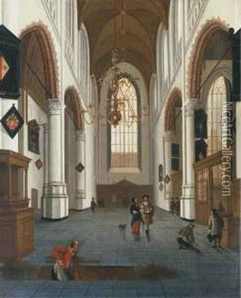 The Oude Kerk In Delft With A Grave Digger In The Foreground Oil Painting - Hendrick Van Vliet