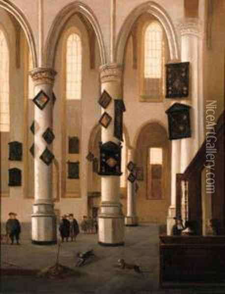 A View In The Oude Kerk, Delft,  Looking East From The Northernaisle, With Townsfolk Near An Open Grave Oil Painting - Hendrick Van Vliet