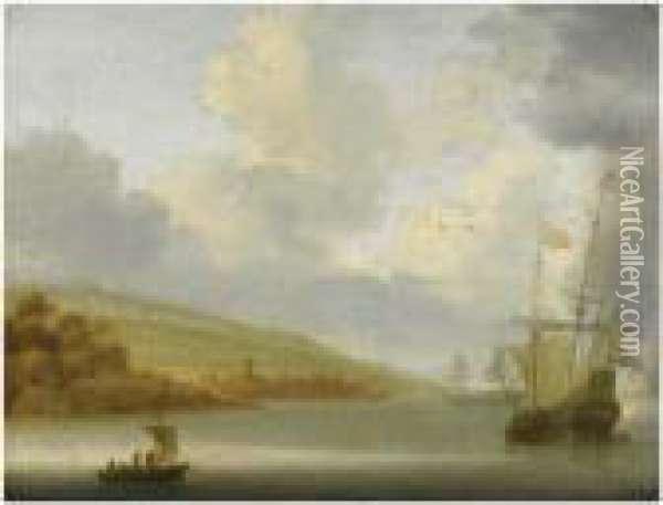 A Calm Marine Landscape With Dutch Ships At Anchor Oil Painting - Willem van Diest