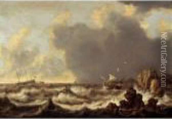 Ships At Anchor, A Sailing Boat And A Rowing Boat In Stormy Waters Oil Painting - Willem van Diest