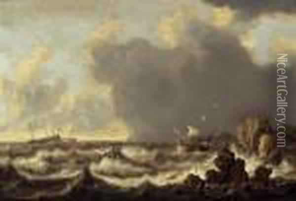 Ships At Anchor A Boat And A Rowing Boat In Stormy Waters Oil Painting - Willem van Diest