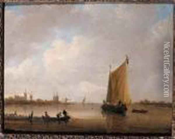 Fishermen Hauling In Their Nets In A River Estuary, A Smalschipnearby, A Town Beyond Oil Painting - Willem van Diest