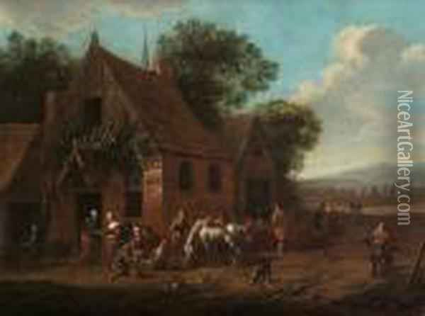 Peasants And Travellers Resting Outside An Inn Oil Painting - Barend Gael or Gaal