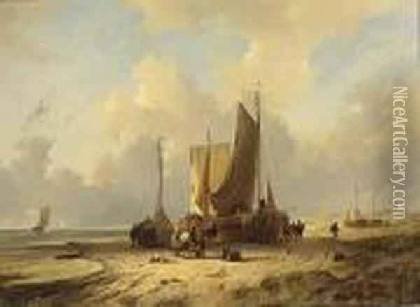 Return Of The Fishing Boats Oil Painting - Remigius Adriannus van Haanen