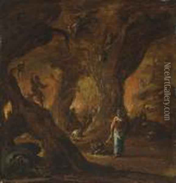 A Sorceress In A Wood Surrounded By Devils Oil Painting - Daniel van Heil