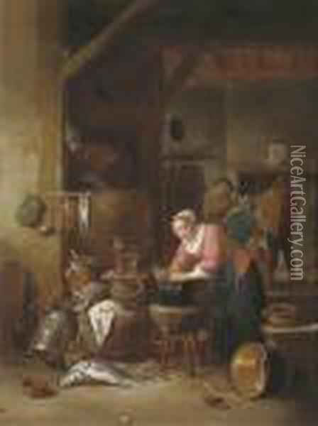A Tavern Interior With A Woman Cleaning A Cauldron Oil Painting - Matheus van Helmont