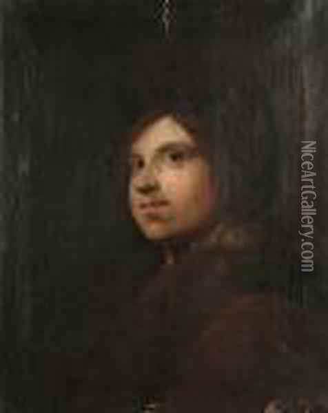 A Young Man In A Fur-trimmed Coat Oil Painting - Jacob van Loo