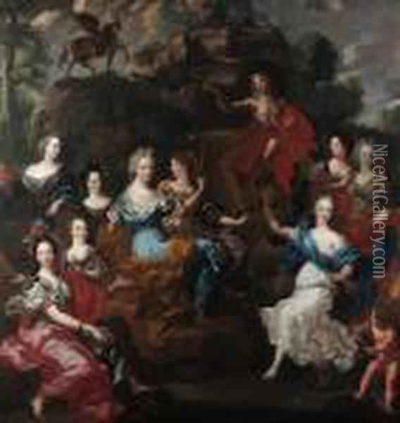 Apollo And The Nine Muses Oil Painting - Jacob van Loo