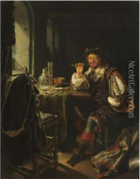 An Interior With A Soldier Smoking A Pipe Oil Painting - Frans van Mieris