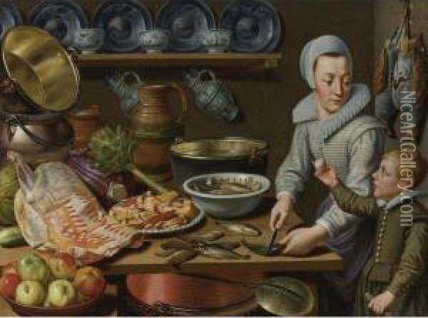 Kitchen Scene Oil Painting - Floris Gerritsz. van Schooten
