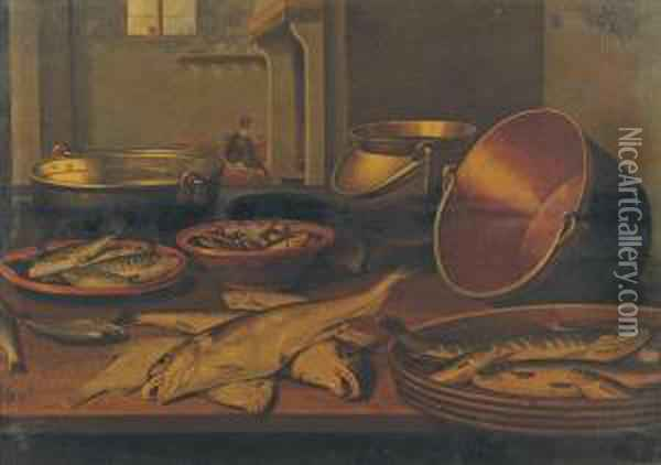 A Kitchen Interior With Fish And Utensils On A Table Oil Painting - Floris Gerritsz. van Schooten
