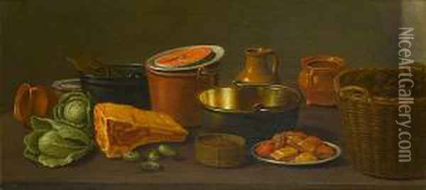 Copper Pots With Earthenware On A