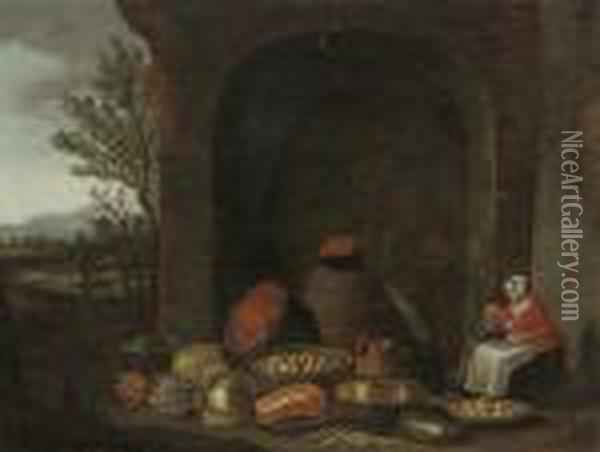 A Maid With A Child, Preparing Food In A Courtyard, A Landscape Beyond Oil Painting - Floris Gerritsz. van Schooten