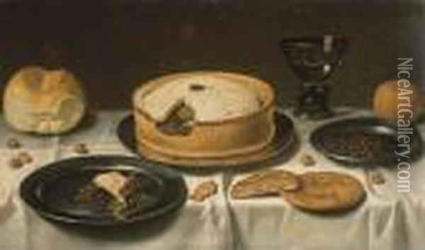 Tourte, Pain, Un Verre, Noisettes Et Orange Sur Un Entablement Drape Oil Painting - Floris Gerritsz. van Schooten