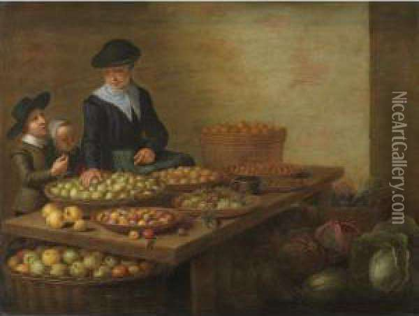 A Fruit And Vegetable Seller At 