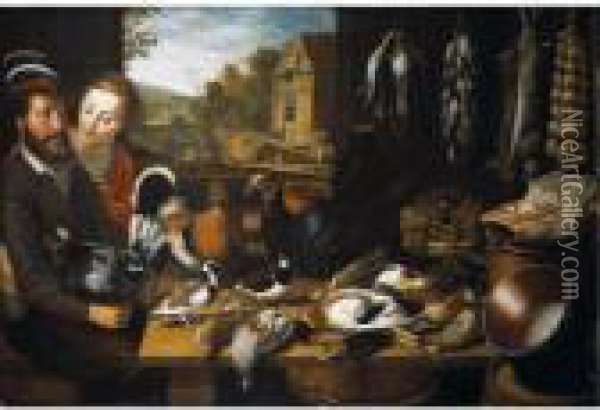 A Larder Still Life, With  Farmyard Fowl, A Turkey, Pigeons, A Plover, Duck, A Starling, Partridge  And Snipe, With Game And Songbirds And Rabbits Suspended From Nails, A  Rib Of Beef, Grapes And An Artichoke, With Copper Pans, Watched By A  Couple Se Oil Painting - Floris Gerritsz. van Schooten