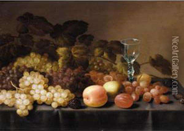 Still Life With Grapes, Logan Berries, Plums, An Apple And A Glass Together On A Table Oil Painting - Floris Gerritsz. van Schooten