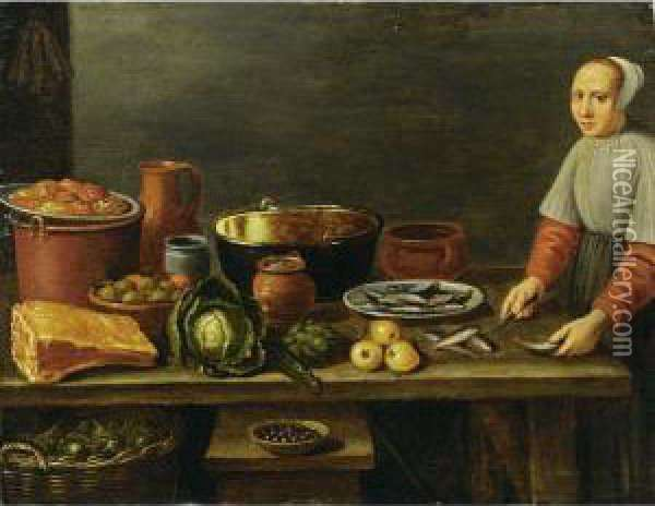 A Kitchen Still Life With A  Cauliflower, An Artichoke, A Ham And Pots, Pans And Jugs, All On A  Wooden Table With A Basket Underneath And A Maid Preparing Fish Oil Painting - Floris Gerritsz. van Schooten