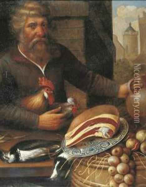 A Peasant Selling Ham, Onions And Poultry At A Market Oil Painting - Floris Gerritsz. van Schooten