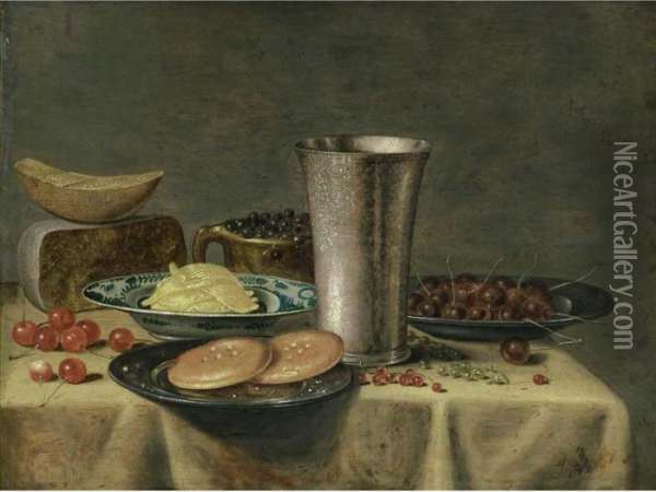 A Still Life With A Silver  Beaker, Cherries And Bread On Pewter Plates, Cheese, Blue Berries In An  Earthenware Pot, Butter In A Porcelain Dish, All On A Table Draped With A  White Cloth, Together With Cherries And Red And White Currants Oil Painting - Floris Gerritsz. van Schooten