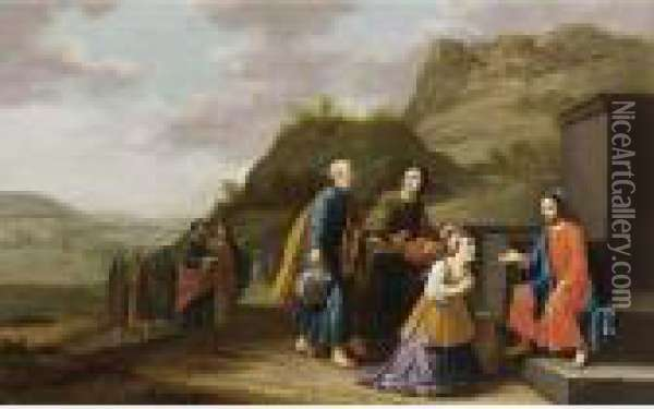 Christ And The Woman Of Samaria Oil Painting - Floris Gerritsz. van Schooten
