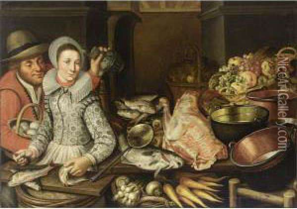 A Kitchen Still Life With Grapes