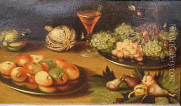 Still Life With Fruits And Vegetables Oil Painting - Floris Gerritsz. van Schooten