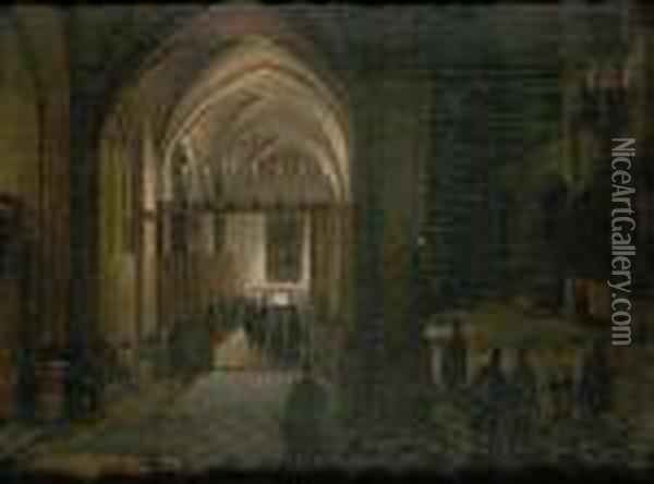 A Church Interior Oil Painting - Hendrick van, the Younger Steenwyck