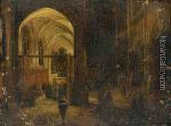 Priests Reading Mass In A Church Interior Oil Painting - Hendrick van, the Younger Steenwyck