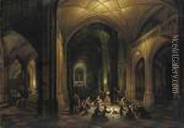 Baal's Priests Consuming The Offerings Of The People In A Temple Oil Painting - Hendrick van, the Younger Steenwyck