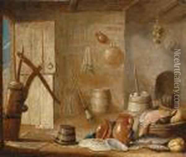 A Barn Still Life Oil Painting - Hendrick van, the Younger Steenwyck